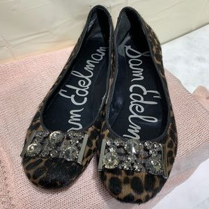 Sam Edelman Calf Hair Cheetah Print & Bling Flats